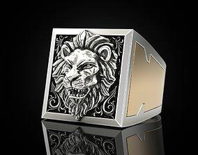 Lion Secret Compartment ring golden 3D print model
