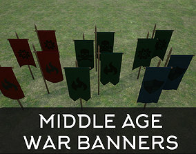 Middle Age War Banners 3D model realtime