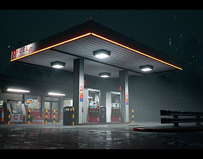 Atmospheric Gas Station Unreal 4 Scene 3D model