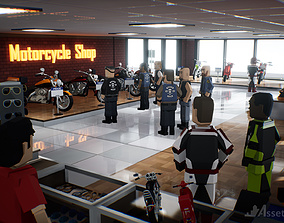 rigged game-ready Assetsville Motorcycles