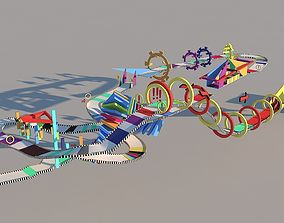 3D model animated Stunt Map Circuit - 1