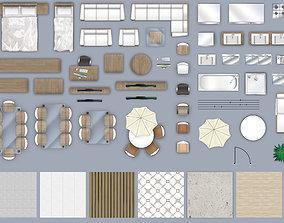 2d furniture floorplan top down view PSD 3D
