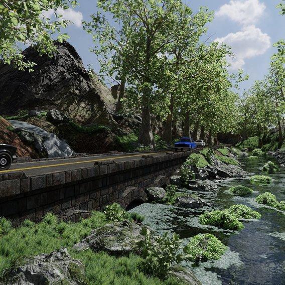 Waterfall Bridge Scene