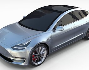Tesla Model 3 Silver 3D