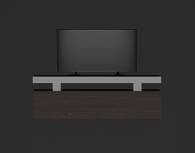 rollup 3D model game-ready TV stand