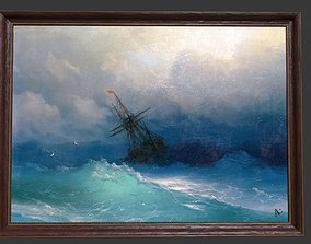 Wooden Frame With Sea Painting 3D asset