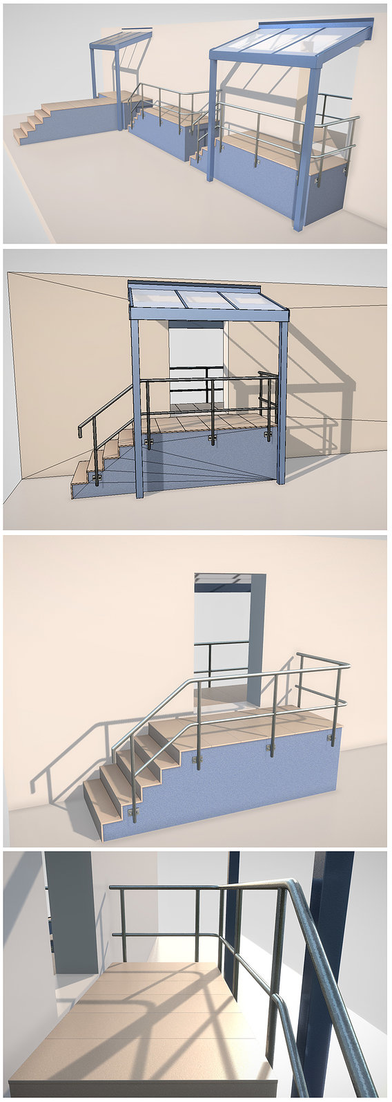 Modular Stairs Railings and Roof Parts