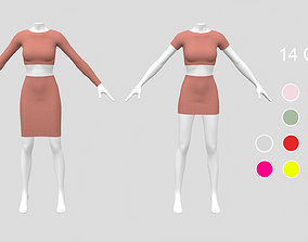3D model Top and skirt with mannequin