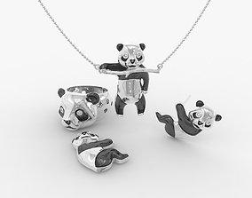 3D print model Jewelry set panda bear with enamel and