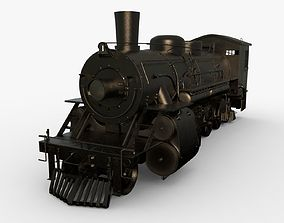 Steam Train 3D model animated