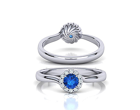 Spiral Halo Engagement ring with 4mm round stone