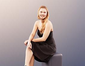 3D 11674 Summer - elegant woman sitting black dress