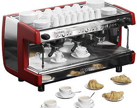 3D model Casadio Undici A3 coffee machine with croissants