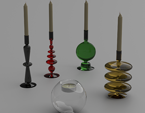 3D model Glass candlesticks and candles