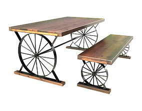 3D Wagon Wheel Dining Table Bench