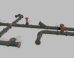 pipe set 3D model game-ready