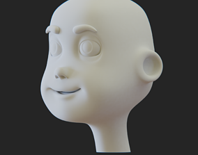 Cartoon Head 3D asset futuristic