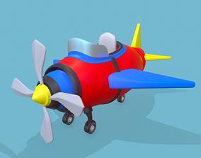 Cartoon plane 3D asset