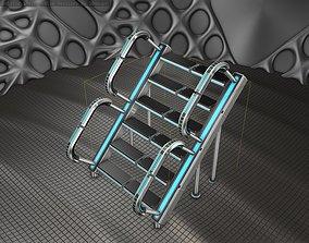 3D asset Sci-Fi Stairs - 28 - Silver Blue Neon Light