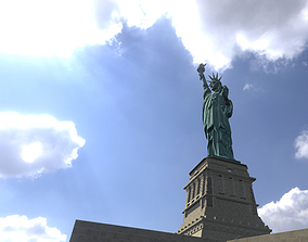 Low Poly PBR statue of liberty 3D asset