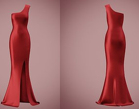 one shoulder satin slit dress 3D asset