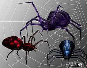 Animated Spiders Pack 3D asset