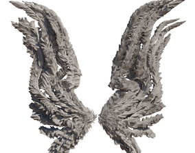 Realistic procedural Wings Rigged and animated 3D model