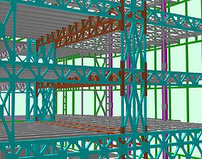 3D asset steel frame stuctural building