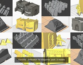Concrete fortification for wargames pack 3D