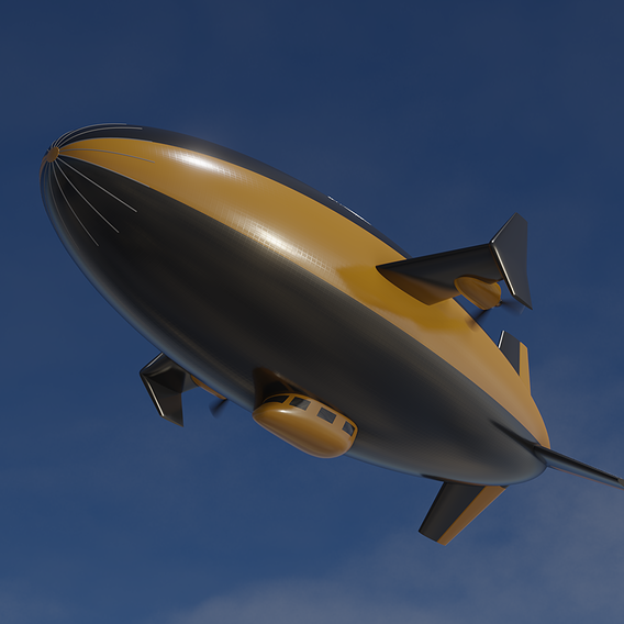 Fictional modern blimp in flight