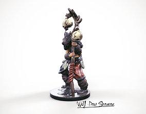 3d Printable miniature Wolf paw Shaman 32mm