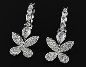 Delicate Womens Butterfly Earrings 3D printable model 2