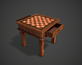 3D model game-ready Wooden Chess Table