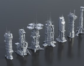 Scifi Futuristic Military buildings pack 3D asset