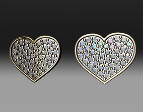 3D print model Heart Diamond Stud Earrings
