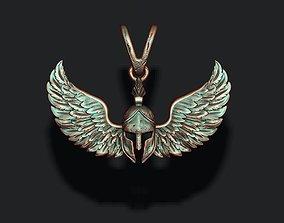 3D print model Spartan helmet wings pendant