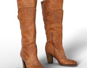 3D model Boot Brown Leather Buckles Women Footwear