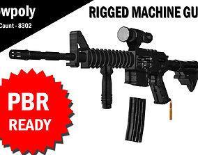 3D Machine Gun Rigged rigged