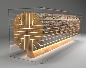 Reception Desk - Sliced Log In Glass Box With 3D model 2
