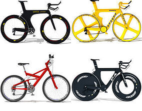3D model Set of 4 Bicycles