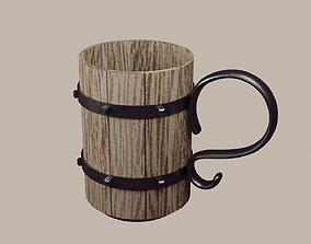 Wooden cup 3D illustration
