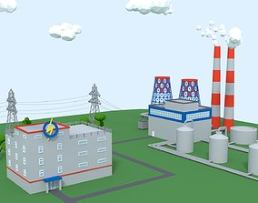 Low Poly Thermal Power Plant 3D model