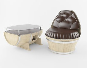 3D model Barrel table and chair