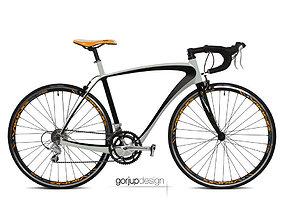3D asset Carbon road bicycle frame conpect