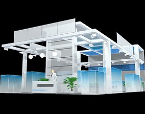 exhibition stall design 3 side open Low-poly 3D