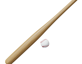 Baseball bat and ball 3D asset