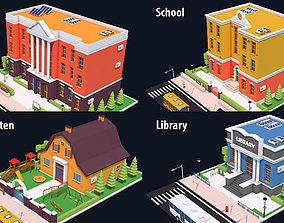 3D model Low Poly Educational Buildings