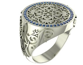 3D printable model Signet ring with gems