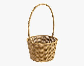3D model Wicker basket with long handle medium brown