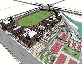 Cultural and sports center Red brick 3D